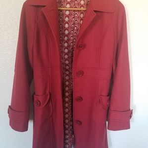 Anthropologie Red Button up Pea Coat
